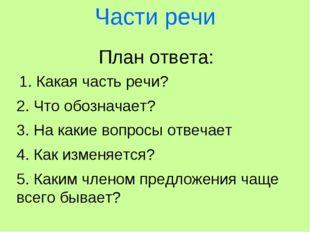 Части речи План ответа: 1. Какая часть речи? 2. Что обозначает? 3. На какие в
