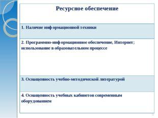 * Ресурсное обеспечение 1. Наличие информационной техники 2. Программно-инфор