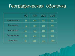 Географическая оболочка 50 100 200 300 50 100 200 300 50 100 200 300 50 100 2
