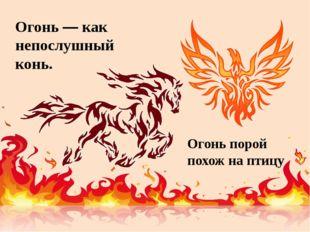 Огонь — как непослушный конь. Огонь порой похож на птицу