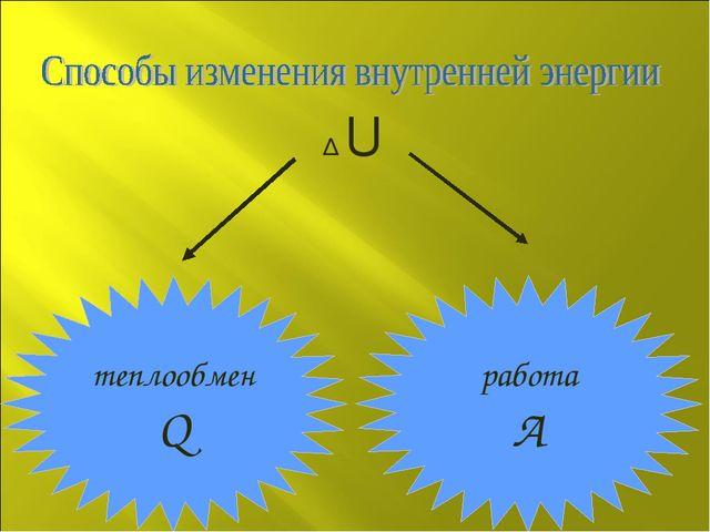 теплообмен Q работа А ∆ U