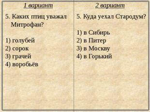 5. Каких птиц уважал Митрофан? 1) голубей 2) сорок 3) грачей 4) воробьёв 5. К