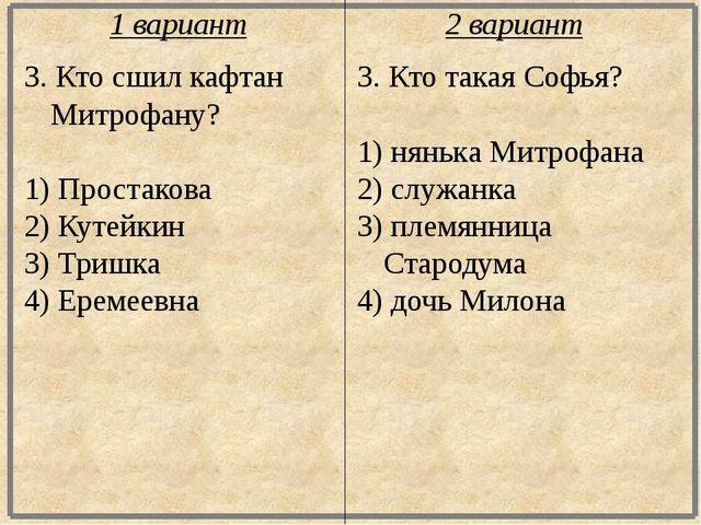 3. Кто сшил кафтан Митрофану? 1) Простакова 2) Кутейкин 3) Тришка 4) Еремеевн...