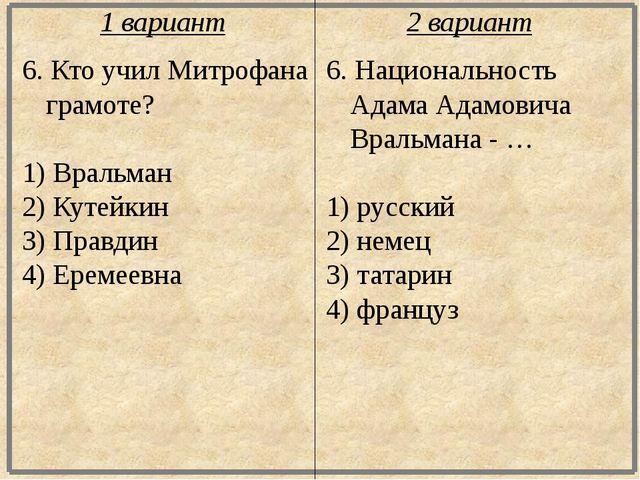 6. Кто учил Митрофана грамоте? 1) Вральман 2) Кутейкин 3) Правдин 4) Еремеевн...