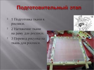 1 Подготовка ткани к росписи. 2 Натяжение ткани на раму для росписи. 3 Перево
