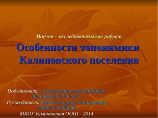 Научно – исследовательская работа Особенности топонимики Калиновского поселен
