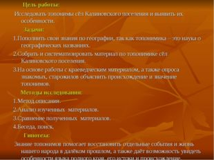 Цель работы: Исследовать топонимы сёл Калиновского поселения и выявить их ос