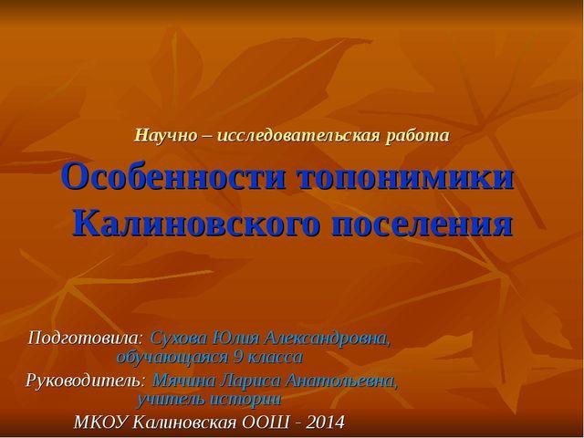 Научно – исследовательская работа Особенности топонимики Калиновского поселен...
