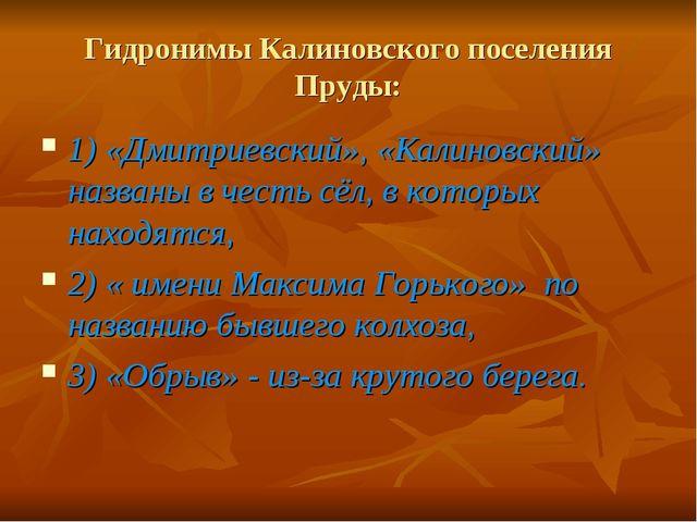Гидронимы Калиновского поселения Пруды: 1) «Дмитриевский», «Калиновский» назв...