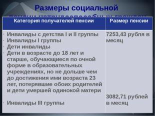 Размеры социальной пенсии нетрудоспособных граждан Категория получателей пенс