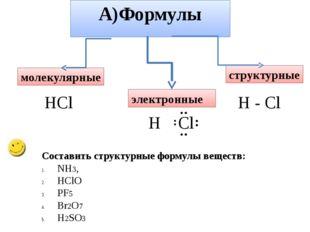 А)Формулы молекулярные электронные структурные HCl H - Cl H Cl ¨ ¨ ¨ ¨ Состав