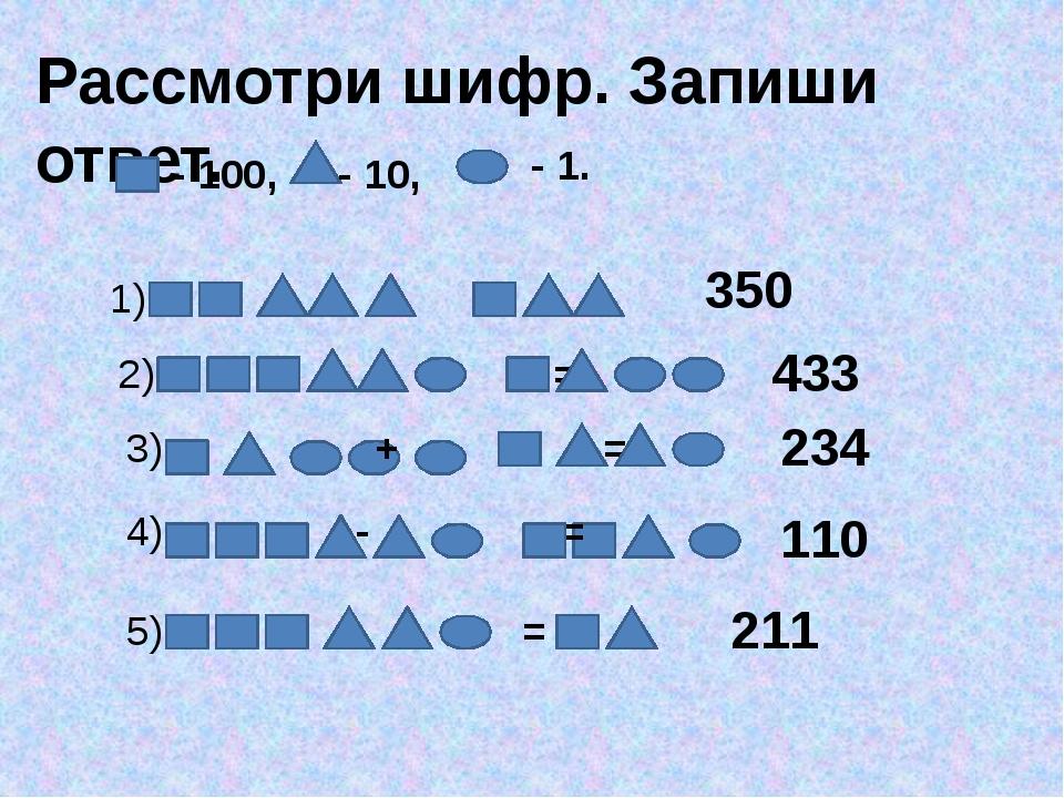 Рассмотри шифр. Запиши ответ. - 100, - 10, - 1. 1) += 350 2)  + = 4...