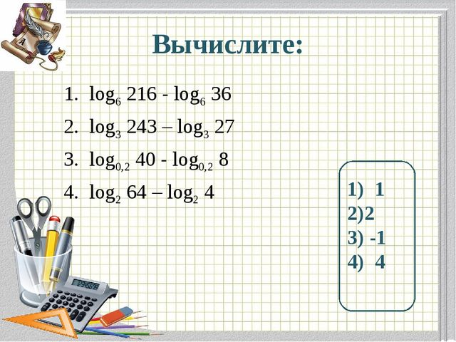 Вычислите: log6 216 - log6 36 log3 243 – log3 27 log0,2 40 - log0,2 8 log2 64...