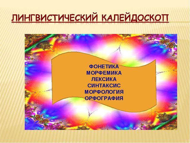ФОНЕТИКА МОРФЕМИКА ЛЕКСИКА СИНТАКСИС МОРФОЛОГИЯ ОРФОГРАФИЯ