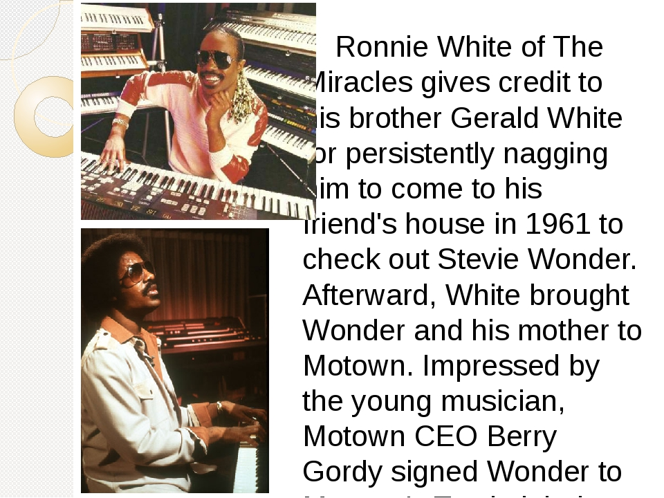 Ronnie White of The Miracles gives credit to his brother Gerald White for pe...