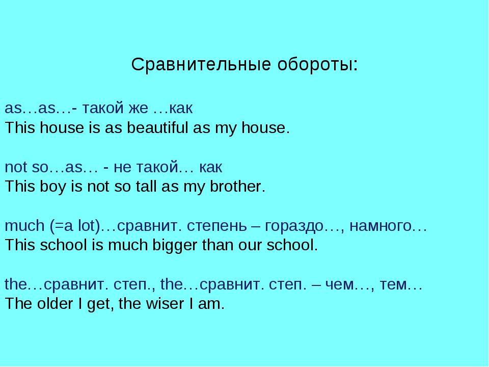 Сравнительные обороты: as…as…- такой же …как This house is as beautiful as my...