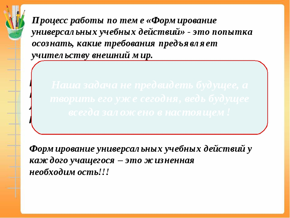 Процесс работы по теме «Формирование универсальных учебных действий» - это по...