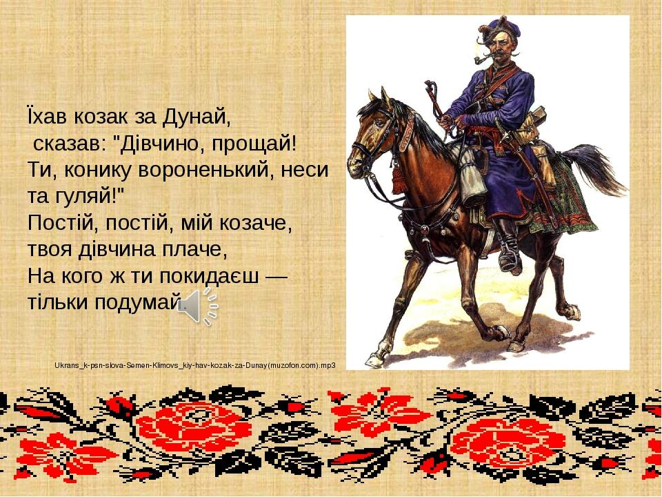 """Їхав козак за Дунай, сказав: """"Дівчино, прощай! Ти, конику вороненький, неси т..."""