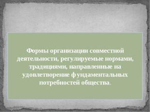 Формы организации совместной деятельности, регулируемые нормами, традициями,