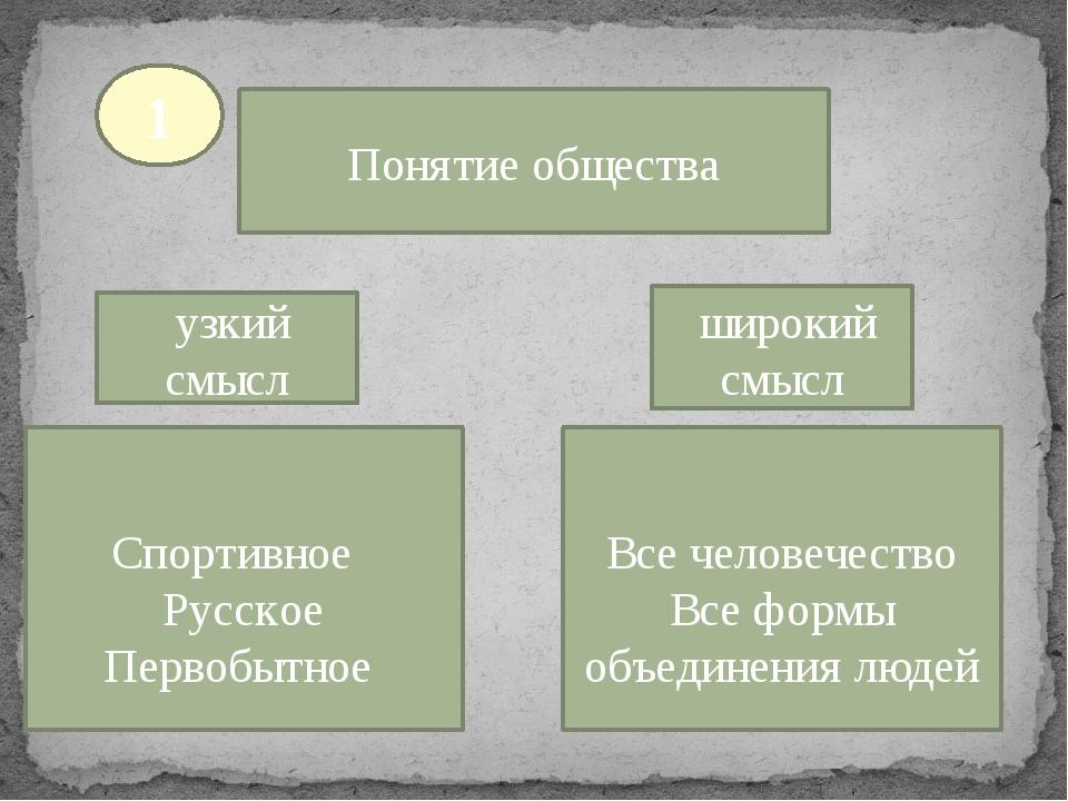 Понятие общества узкий смысл широкий смысл Спортивное Русское Первобытное Все...