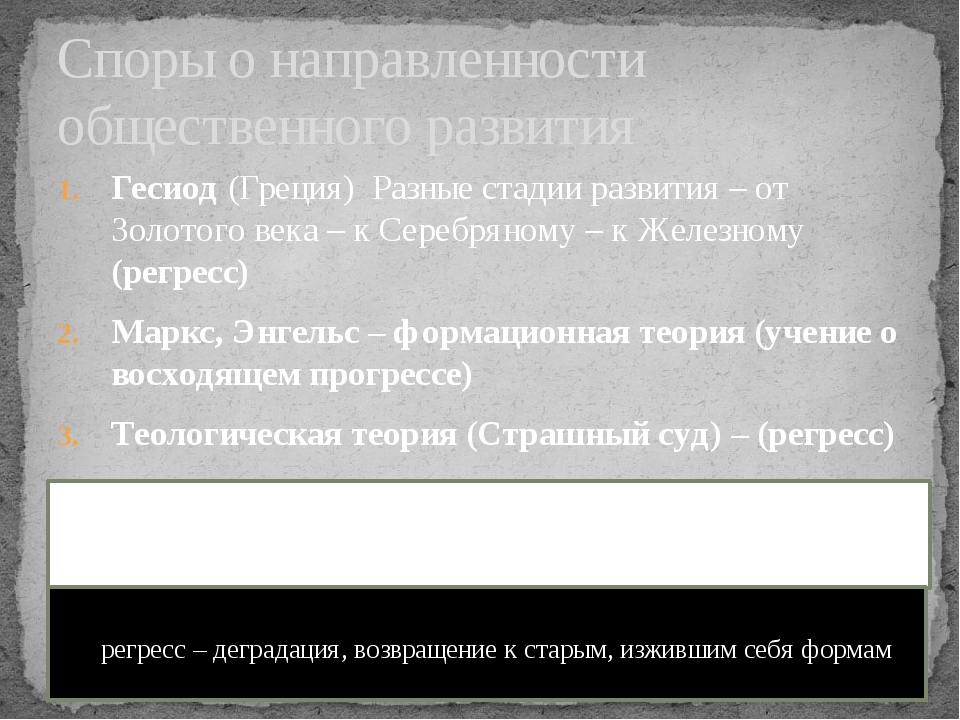 Гесиод (Греция) Разные стадии развития – от Золотого века – к Серебряному – к...