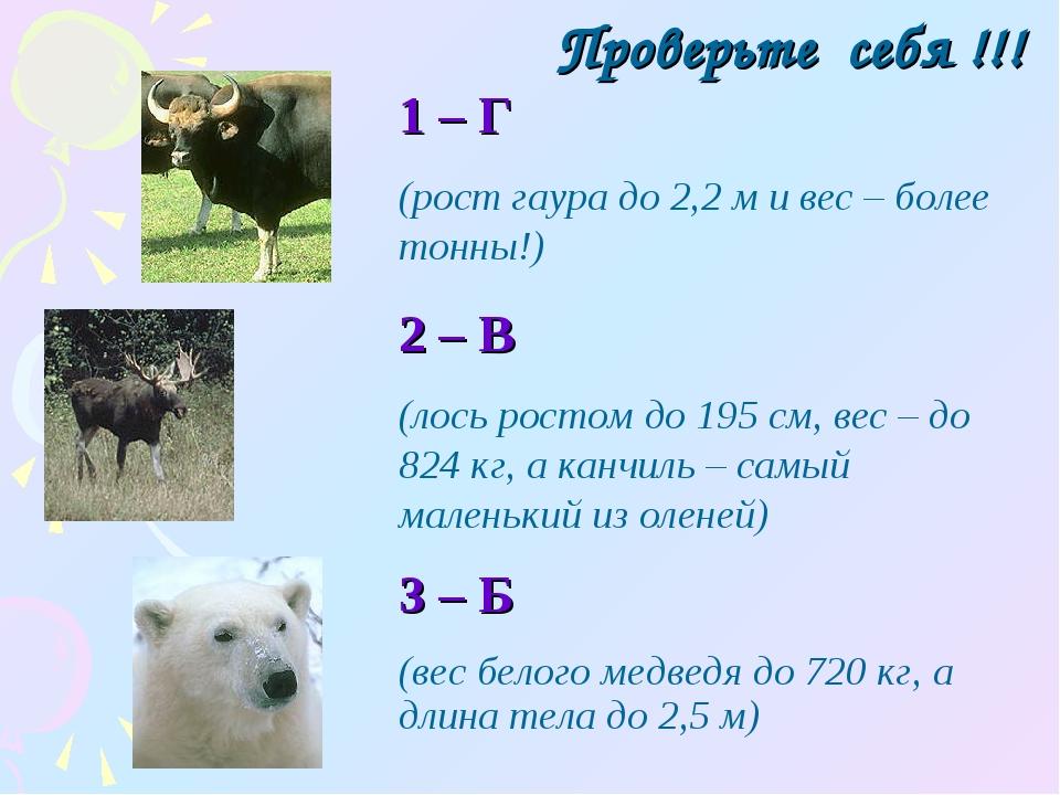Проверьте себя !!! 1 – Г (рост гаура до 2,2 м и вес – более тонны!) 2 – В (ло...