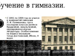 Обучение в гимназии. С1891по1899 год он учился в знаменитойгимназии Л.И.