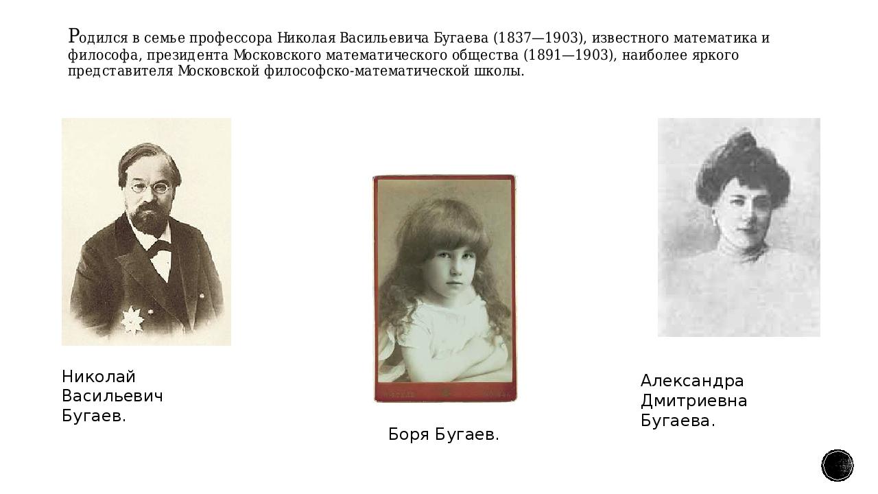 Родился в семье профессораНиколая Васильевича Бугаева(1837—1903), известног...