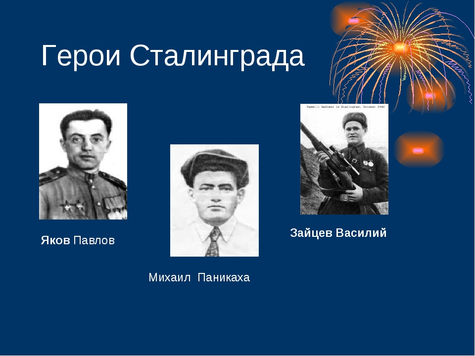 Герои Сталинграда Яков Павлов Михаил Паникаха Зайцев Василий