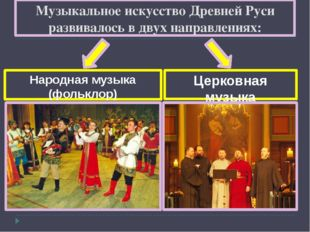 Музыкальное искусство Древней Руси развивалось в двух направлениях: Народная