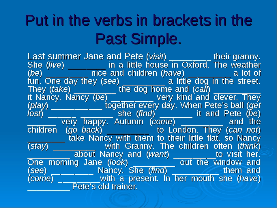Put in the verbs in brackets in the Past Simple. 	Last summer Jane and Pete (...