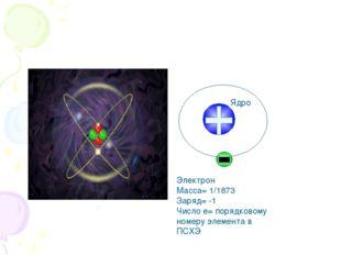 Электрон Масса= 1/1873 Заряд= -1 Число е= порядковому номеру элемента в ПСХЭ