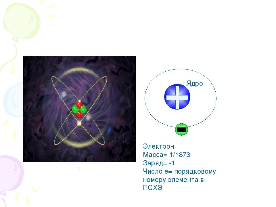 Электрон Масса= 1/1873 Заряд= -1 Число е= порядковому номеру элемента в ПСХЭ...