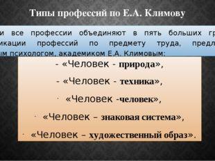 Типы профессий по Е.А. Климову В России все профессии объединяют в пять больш