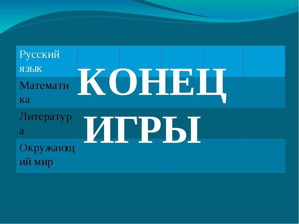 КОНЕЦ ИГРЫ Русскийязык Математика Литература Окружающий мир