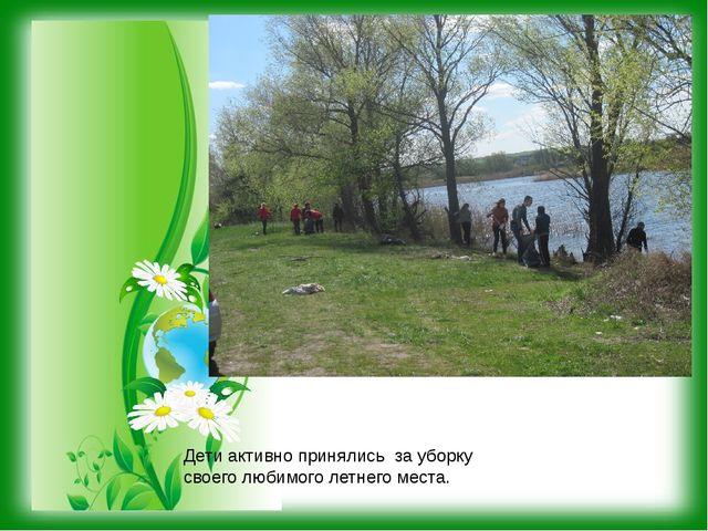 Дети активно принялись за уборку своего любимого летнего места.