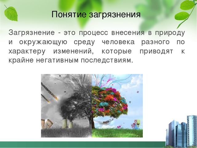 Понятие загрязнения Загрязнение - это процесс внесения в природу и окружающую...