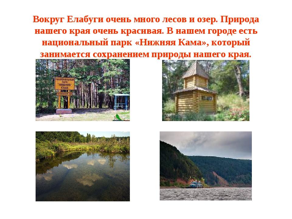 Вокруг Елабуги очень много лесов и озер. Природа нашего края очень красивая....