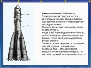 Ракета-носитель «Восток». Трехступенчатая ракета-носитель состояла из четыре