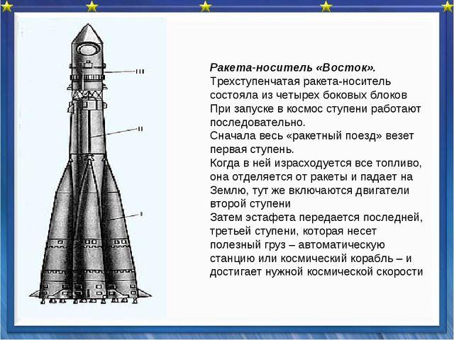 Ракета-носитель «Восток». Трехступенчатая ракета-носитель состояла из четыре...