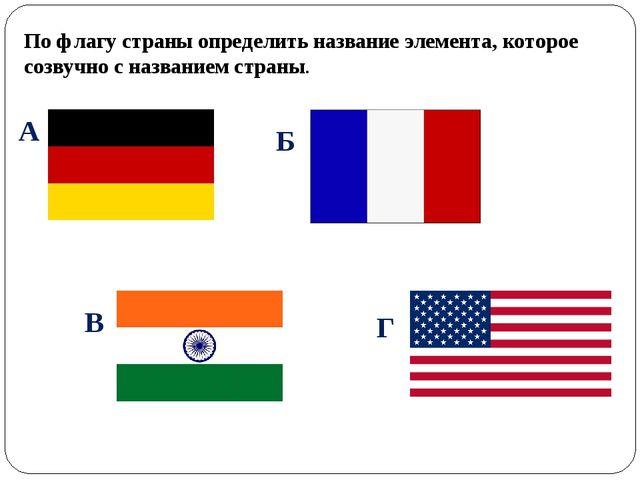 По флагу страны определить название элемента, которое созвучно с названием ст...