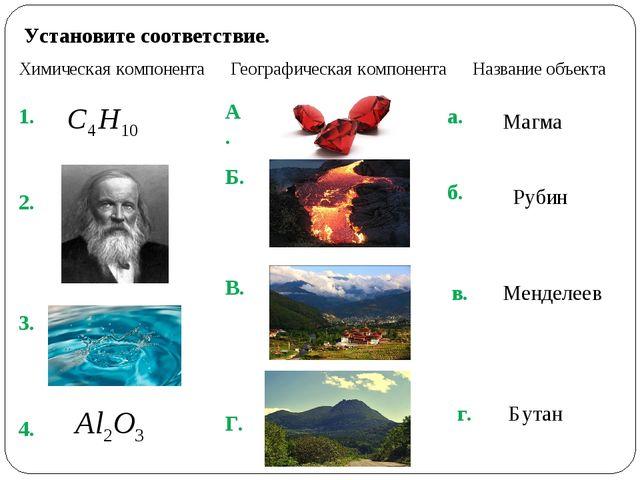 Установите соответствие. Химическая компонента Географическая компонента Назв...