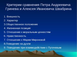 Критерии сравнения Петра Андреевича Гринева и Алексея Ивановича Швабрина 1. В