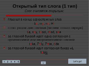 Открытый тип слога (1 тип) Слог считается открытым: гласная в конце односложн