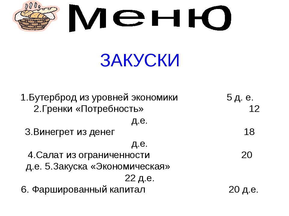 ЗАКУСКИ 1.Бутерброд из уровней экономики 5 д. е. 2.Гренки «Потребность» 12 д....