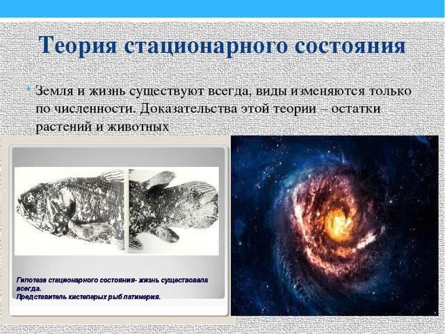 Теория стационарного состояния Земля и жизнь существуют всегда, виды изменяют...