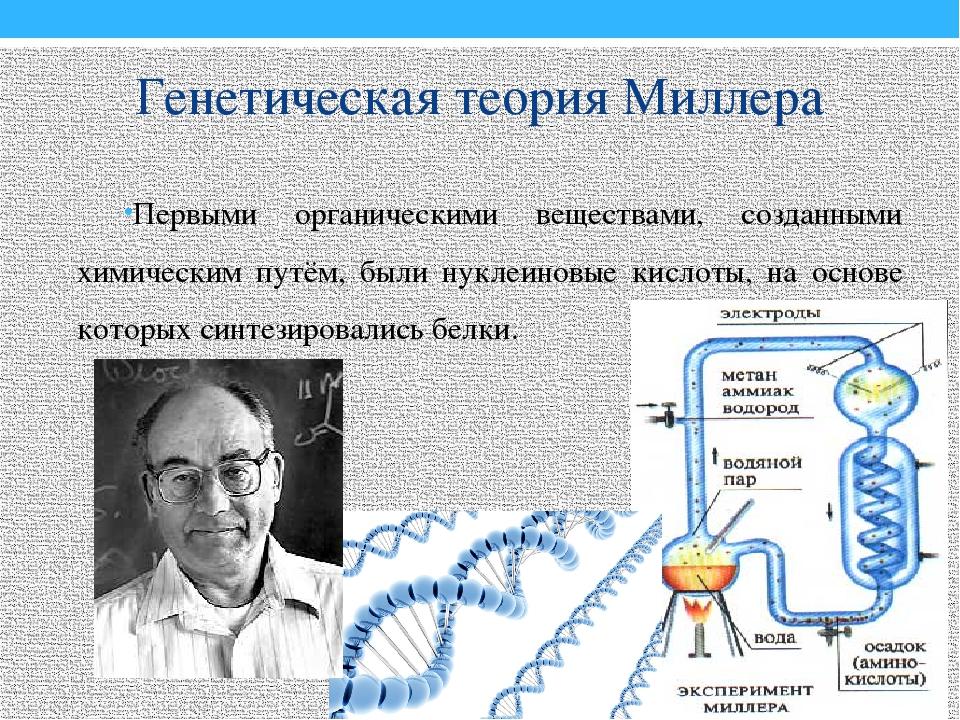 Генетическая теория Миллера Первыми органическими веществами, созданными хими...