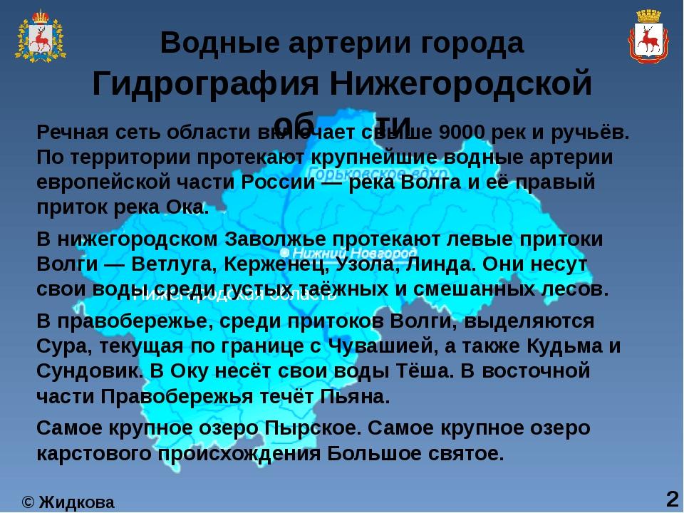 Гидрография Нижегородской области Речная сеть области включает свыше 9000 рек...
