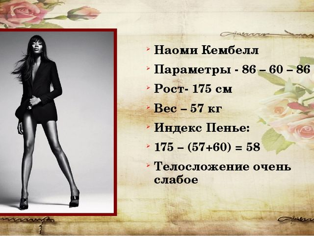 Наоми Кембелл Параметры - 86 – 60 – 86 Рост- 175 см Вес – 57 кг Индекс Пенье:...
