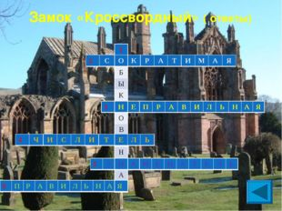Замок «Кроссвордный» ( ответы) 1 О Б Ы К Н О В Е Н Н А Я 2СОКРАТИМА